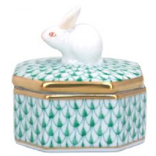 Herend Octagon Fancy Box with Rabbit Knob - Green
